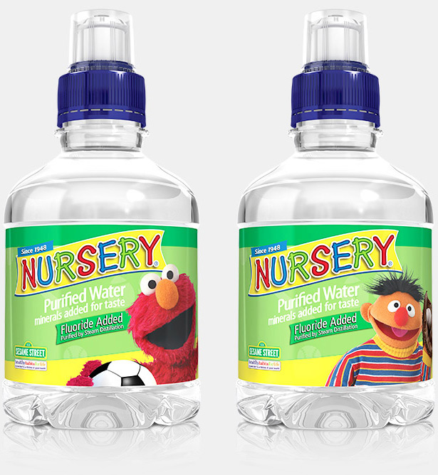 nursery water sesame street characters on bottles